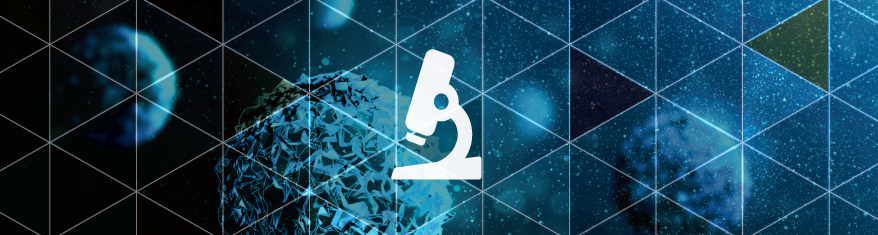 icon of a microscope overlayed on an image of cancer cells