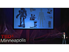 Michael McAlpine on stage at TEDx Minneapolis.